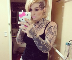 blonde, hello kitty, and Tattoos image