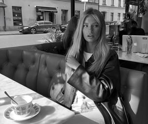 beauty, black and white, and cafe image