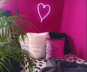 bedroom, neon pink, and pillows image