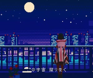 aesthetic, blue, and pixel art image