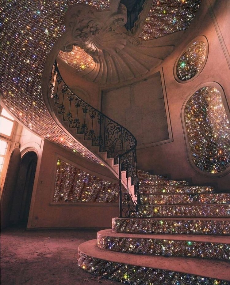 glitter, pink, and stairs image