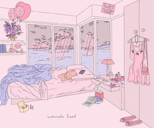 bedroom, drawing, and illustration image
