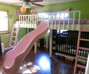 bedroom, crib, and slide image