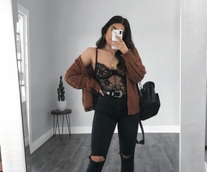bodysuit, doc martens, and cardigan image