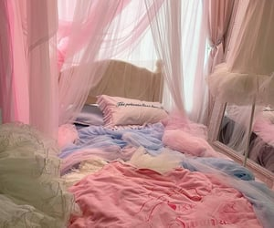 pink, bed, and blue image