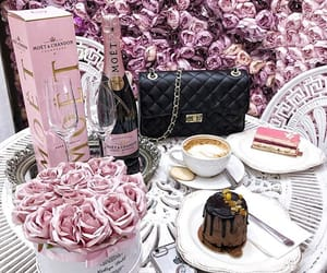bag, cake, and champagne image