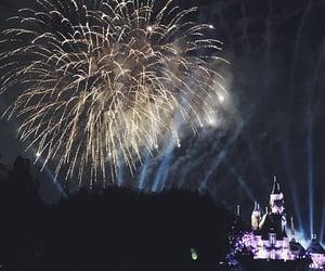 castle, fireworks, and sky image
