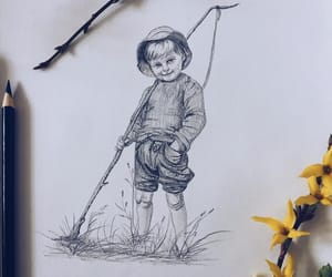 childhood, pencil drawing, and country summer image