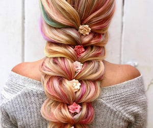 beauty, braid, and colors image
