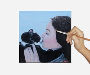 etsy, woman and dog, and custom pet portrait image