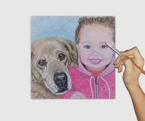 etsy, pet portrait, and woman and dog image