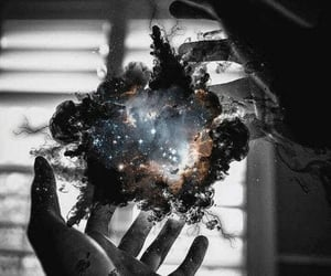 galaxy, hands, and space image