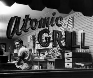 black and white, diner, and vintage image