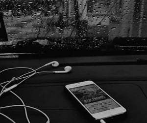 music, rain, and iphone image