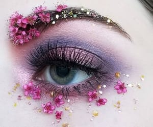 makeup, flowers, and girl image