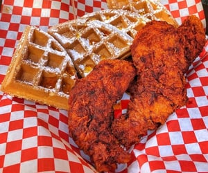 dinner, soulfood, and waffles image