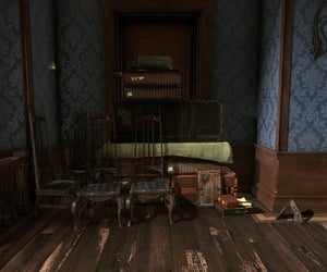 brown, suitcase, and chairs image