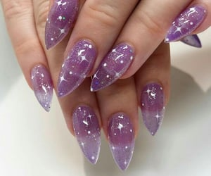 girl, nails, and glitter image