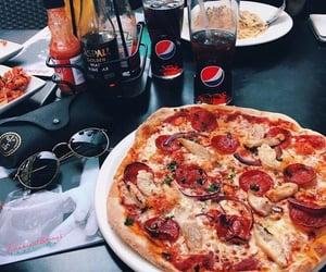 food, pizza, and Pepsi image