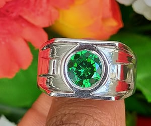 jewelry, gold rings, and green. image