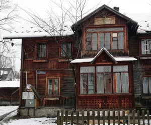 chalet, snow, and house image