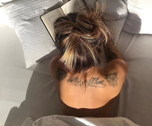 back tattoo, chill, and bed image