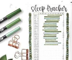 green, sleep tracker, and bullet journal image