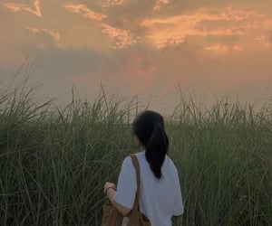 aesthetic, girl, and sky image
