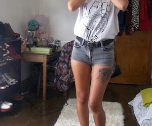 girl, tattoo, and shorts image