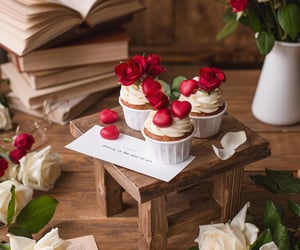books, food, and roses image
