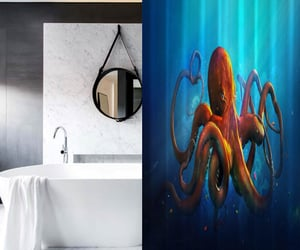 design, octopus, and shower curtain image