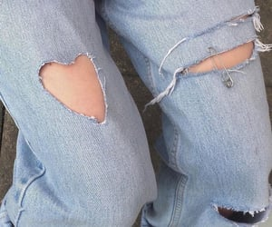 aesthetic, ripped jeans, and heart image