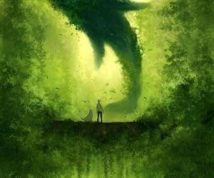 art, dog, and green image