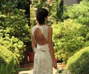 open back, ivory lace, and sweep train image