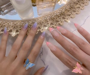 butterfly, girl, and nails image