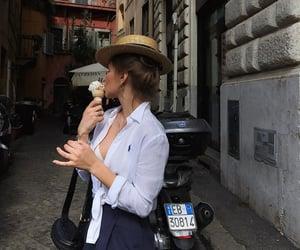 food, girl, and ice cream image