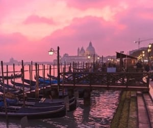 atmosphere, boats, and pink image