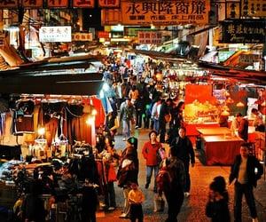 bazaar, hong kong, and night market image