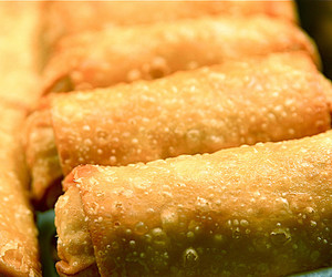 food, chinese food, and egg rolls image