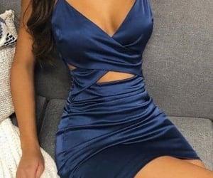 beauty, silk, and blue dress image