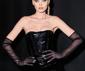 backstage, style, and black leather dress image