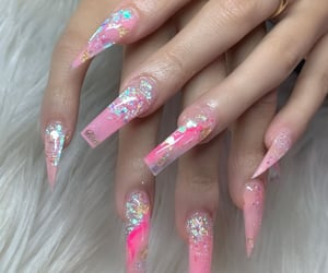 coffin, hot pink, and nails image