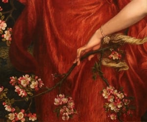 red, art, and flowers image