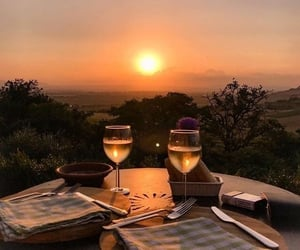 sunset, travel, and wine image