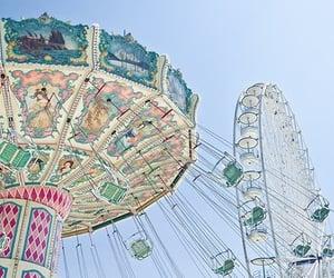 amusement park, sky, and blue image