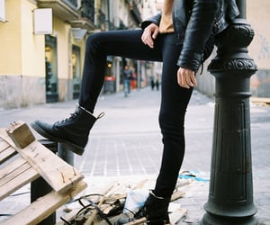 black, combat boots, and fashion image