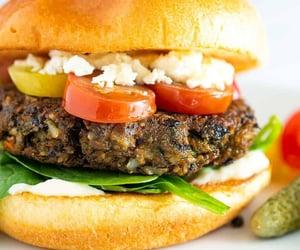 burger, vegetarian, and vegetarian food image