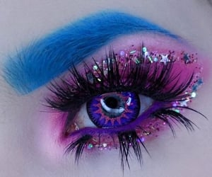 beauty, glitter, and blue eyebrows image