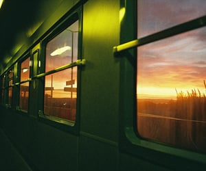sunset, train, and travel image