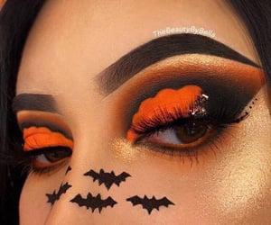 bats, colorful eyeshadow, and eyebrows image